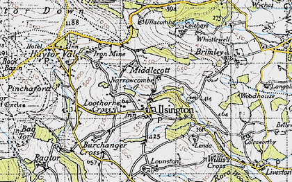 Old map of Ilsington in 1946