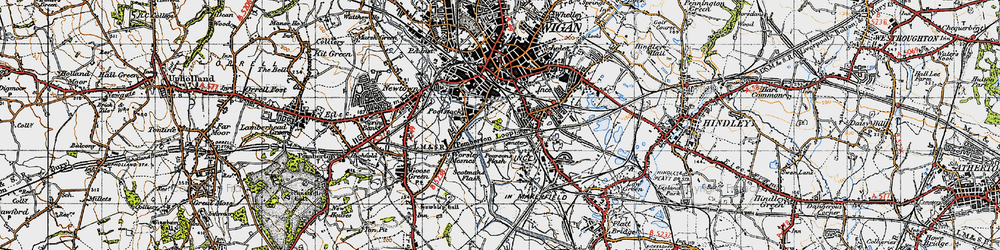 Old map of Ince in Makerfield in 1947