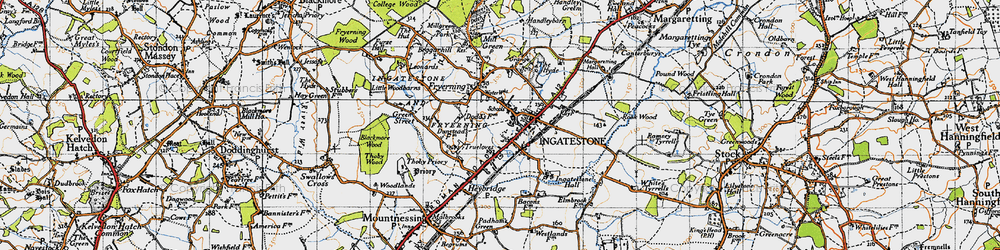 Old map of Ingatestone in 1946