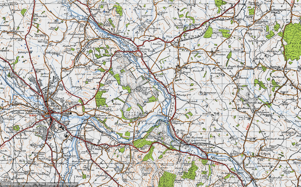 Old Map of Historic Map covering Lion Lodges in 1946