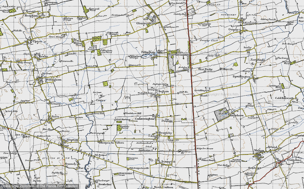 Old Map of Historic Map covering Lincolnshire Rescue Kennels in 1947