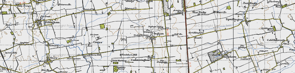 Old map of Ingham in 1947