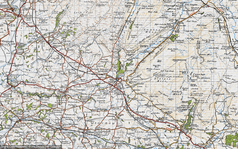 Old Map of Historic Map covering Lead Mine Moss in 1947