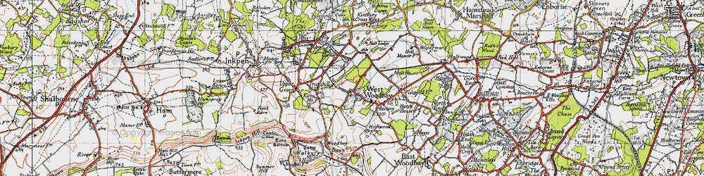 Old map of West Woodhay Ho in 1945