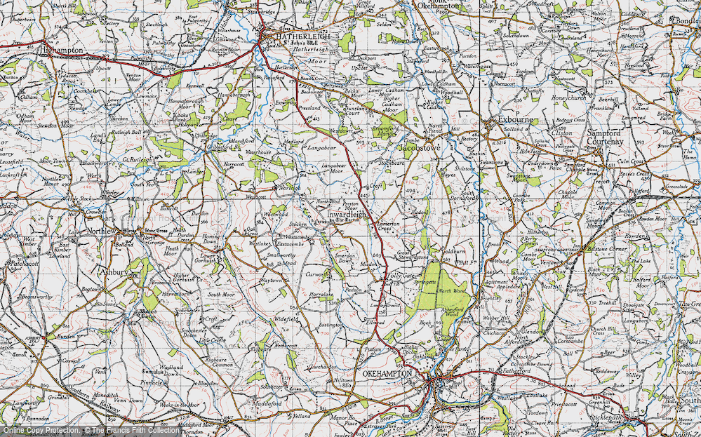 Old Map of Inwardleigh, 1946 in 1946
