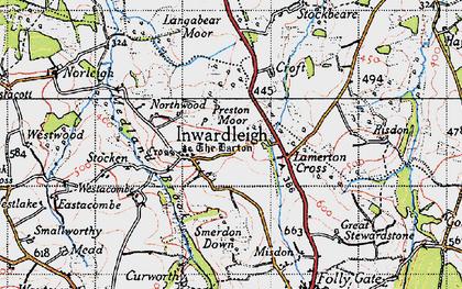 Old map of Langabeare Barton in 1946