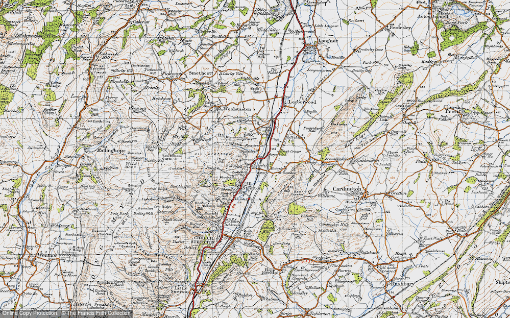 Old Map of Historic Map covering Worsley in 1947