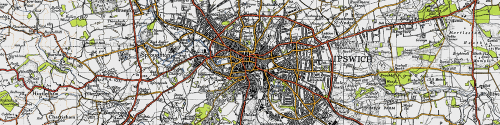 Old map of Ipswich in 1946