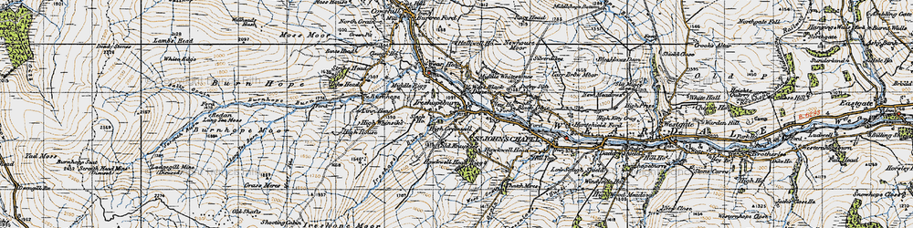 Old map of Ireshopeburn in 1947