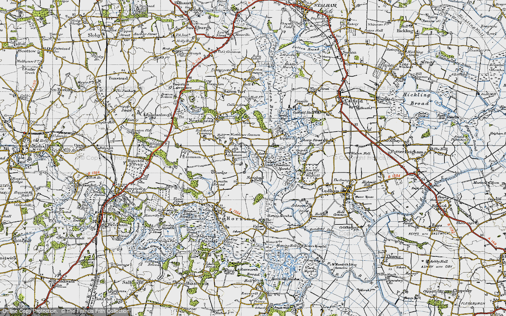 Old Map of Historic Map covering Alderfen Broad in 1945