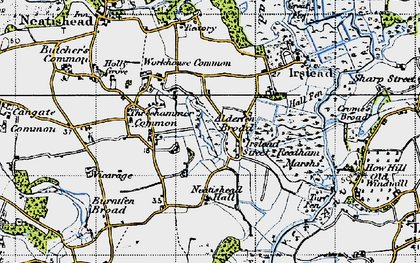 Old map of Alderfen Broad in 1945