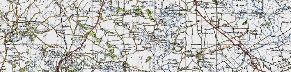 Old map of Alderfen Broad in 1945