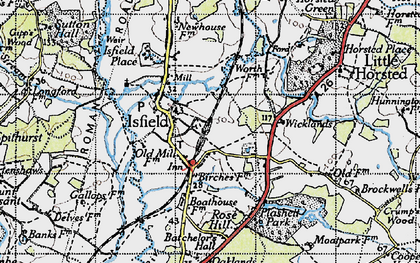 Old map of Wicklands in 1940