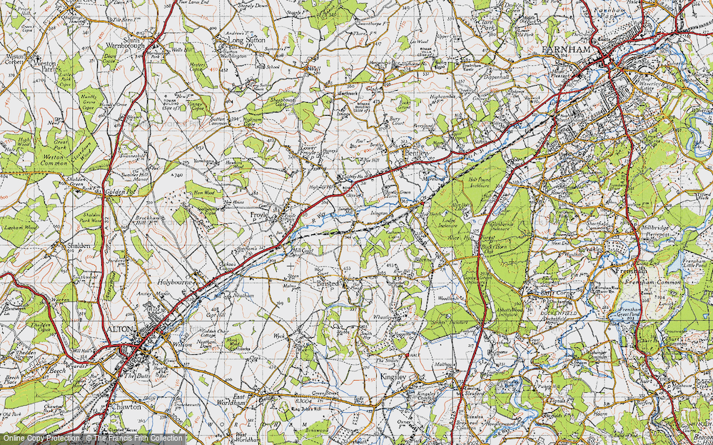 Old Map of Isington, 1940 in 1940