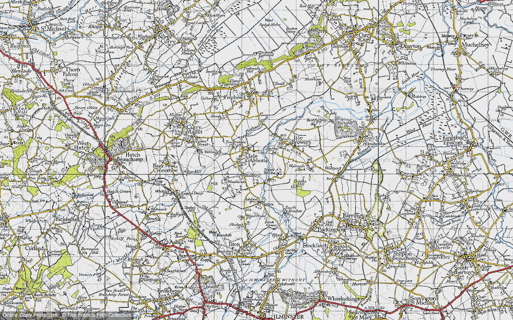 Old Map of Historic Map covering Badbury in 1945