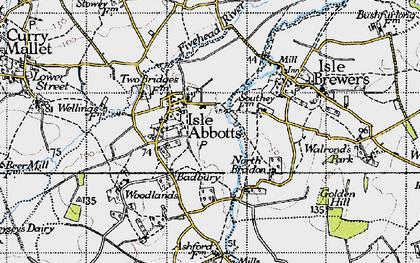 Old map of Badbury in 1945