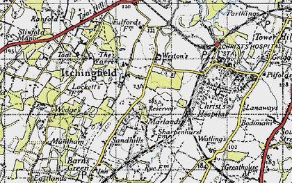 Old map of Toat Hill in 1940