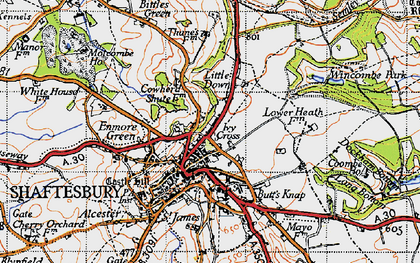 Old map of Wincombe Park in 1945