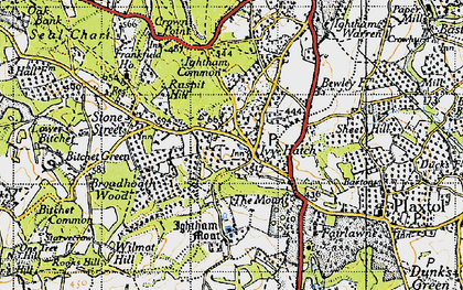 Old map of Ivy Hatch in 1946