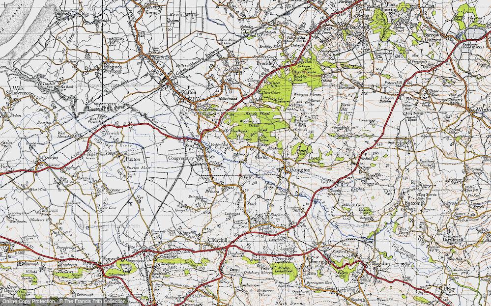 Old Map of Historic Map covering Ball Wood in 1946