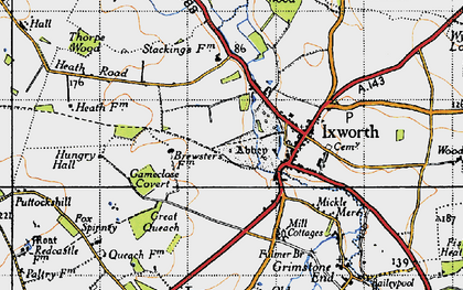 Old map of Ixworth in 1946