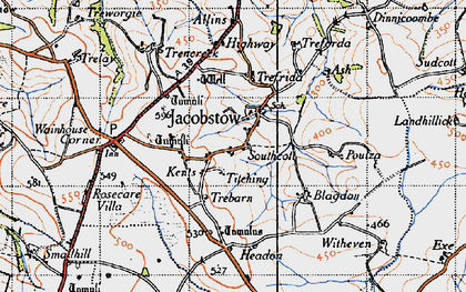 Old map of Allins in 1946