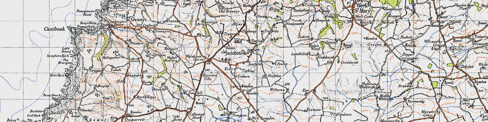 Old map of Tobarn in 1946