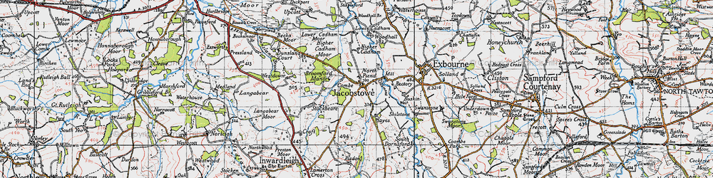 Old map of Westdown in 1946