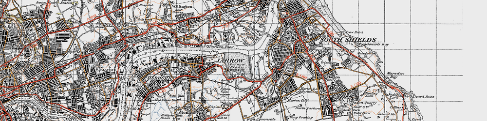 Old map of Jarrow in 1947