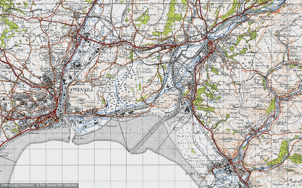 Old Map of Historic Map covering Baglan Bay in 1947