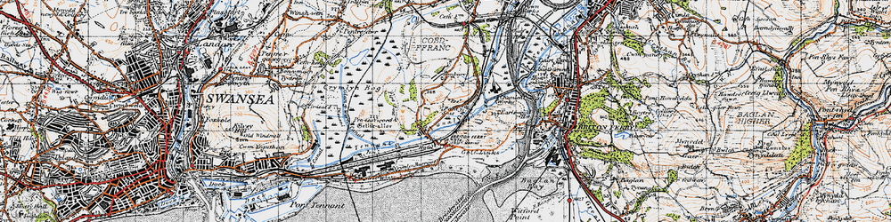 Old map of Jersey Marine in 1947