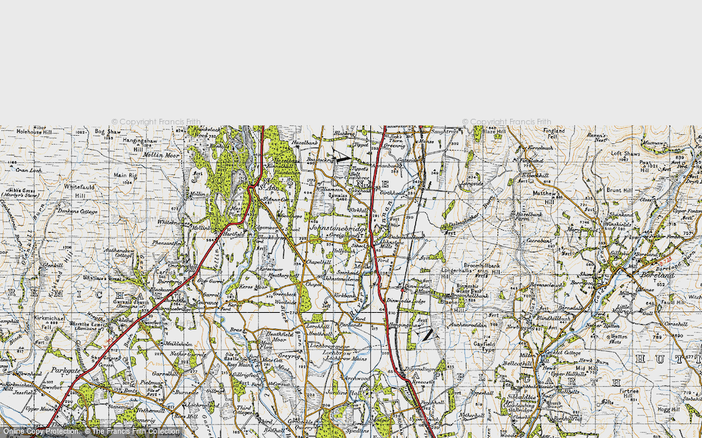 Old Map of Historic Map covering Tippet's Belt in 1947