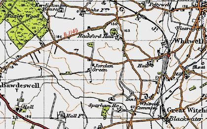 Old map of Whitwell Hall in 1946