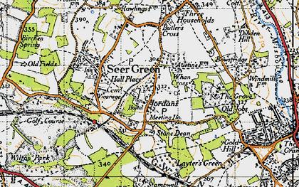 Old map of Jordans in 1945