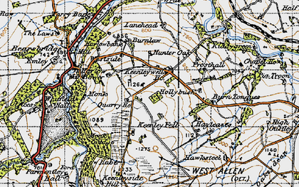 Old map of Lanehead in 1947