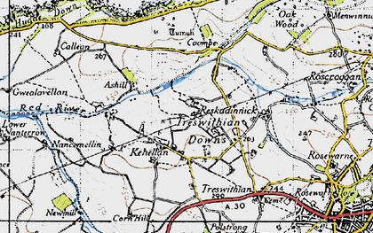 Old map of Kehelland in 1946
