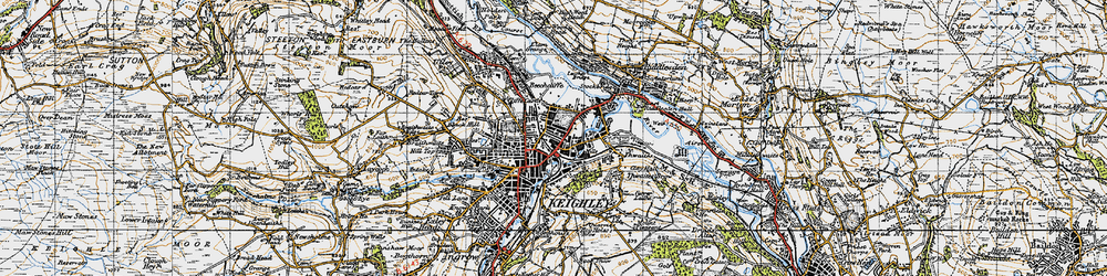Old map of Keighley in 1947