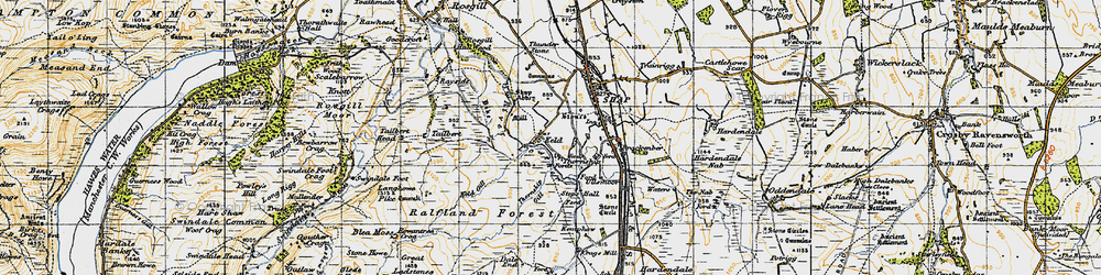 Old map of Wet Sleddale Reservoir in 1947