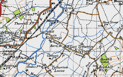 Old map of Kellaways in 1947