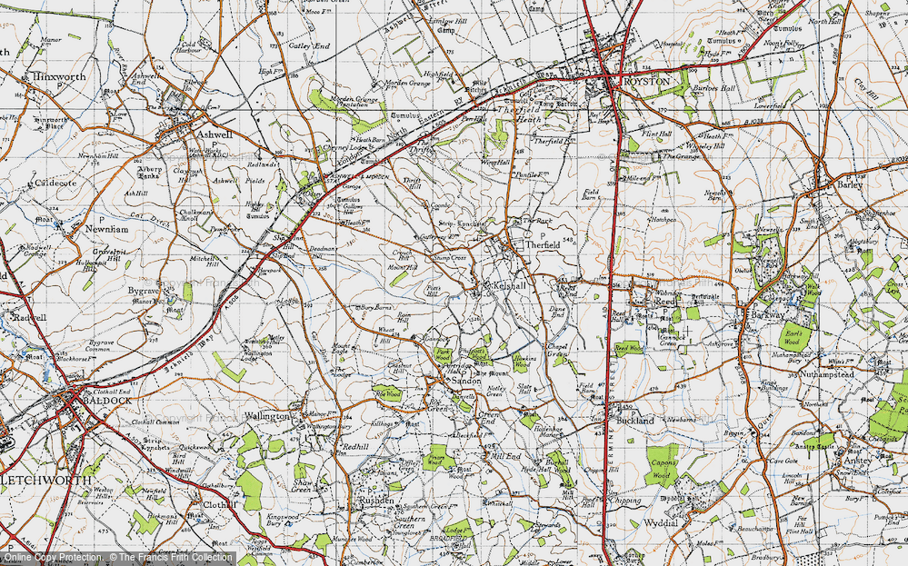 Old Map of Historic Map covering Woodcotes in 1946