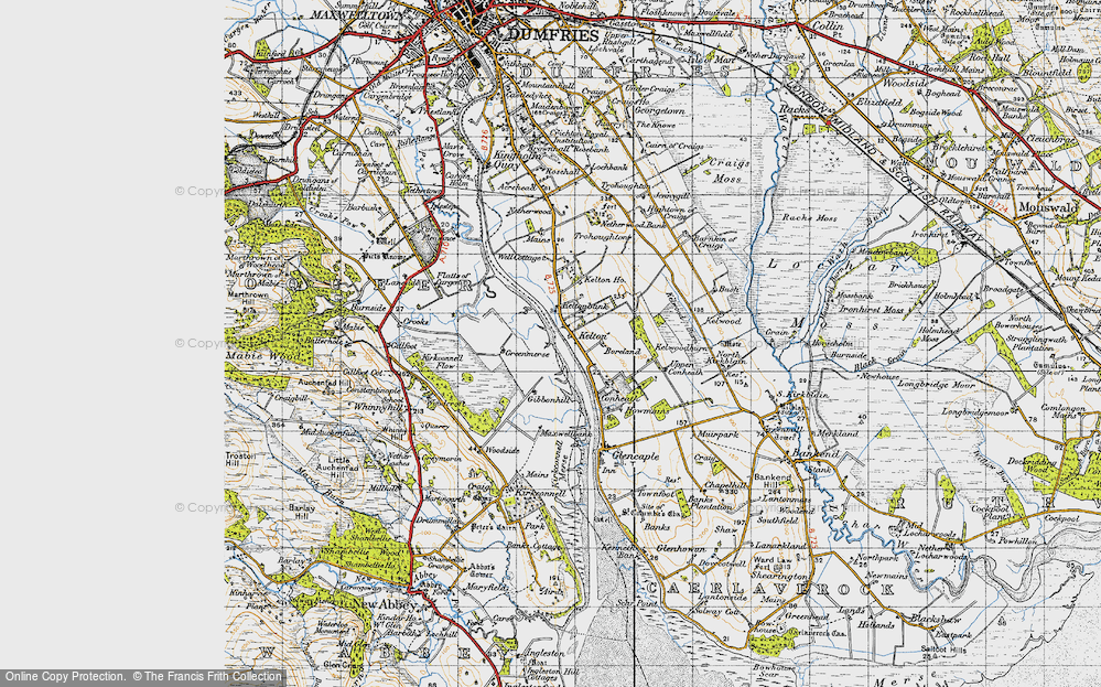 Old Map of Historic Map covering Whinnyhill in 1947