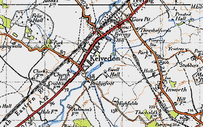 Old map of Kelvedon in 1945