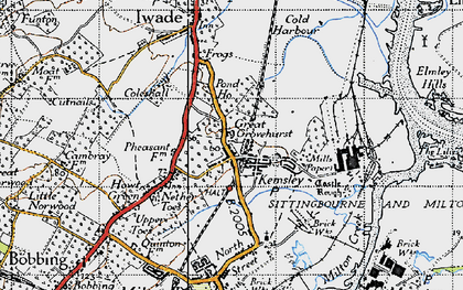 Old map of Kemsley in 1946