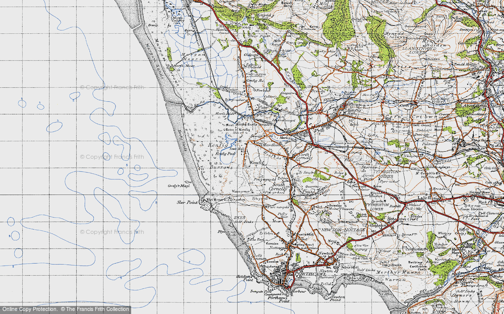 Old Map of Kenfig, 1947 in 1947
