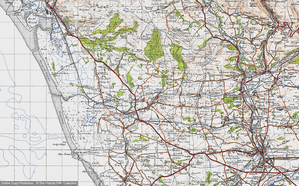 Old Map of Kenfig Hill, 1947 in 1947