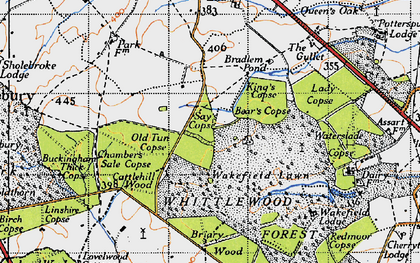 Old map of Whittlewood Forest in 1946