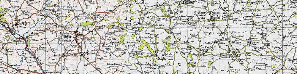 Old map of Kennerleigh in 1946