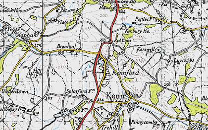 Old map of Kennford in 1946