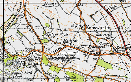 Old map of Whipsnade Heath in 1946