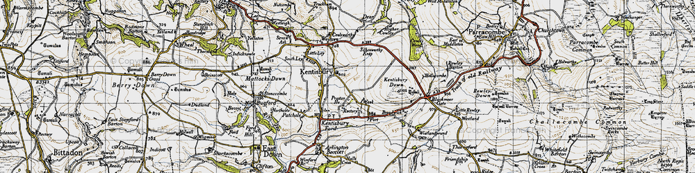 Old map of Kentisbury in 1946